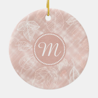 Shimmering Leaves Outline Rose Gold ID288 Ceramic Ornament