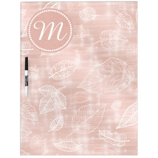 Shimmering Leaves Outline Rose Gold ID288 Dry Erase Board