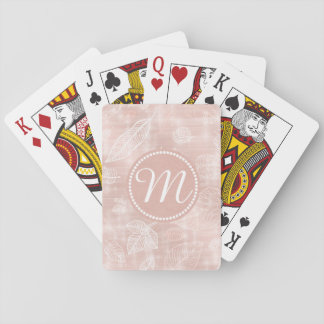 Shimmering Leaves Outline Rose Gold ID288 Playing Cards