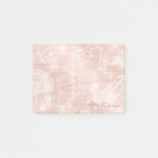 Shimmering Leaves Outline Rose Gold ID288 Post-it Notes