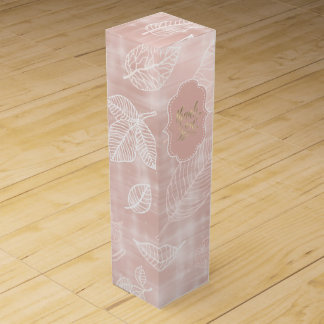 Shimmering Leaves Outline Rose Gold ID288 Wine Box