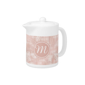 Shimmering Leaves Outline Rose Gold Monogram ID288