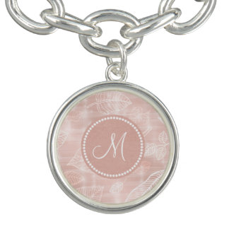 Shimmering Leaves Outline Rose Gold Monogram ID288 Charm Bracelets