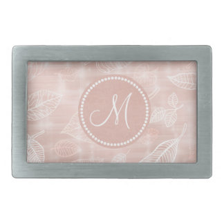 Shimmering Leaves Outline Rose Gold Monogram ID288 Rectangular Belt Buckles
