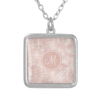 Shimmering Leaves Outline Rose Gold Monogram ID288 Silver Plated Necklace
