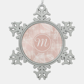 Shimmering Leaves Outline Rose Gold Monogram ID288 Snowflake Pewter Christmas Ornament