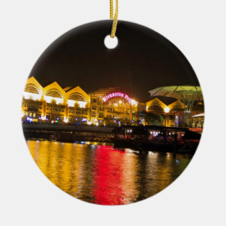 Shimmering lights and reflection in the water ceramic ornament
