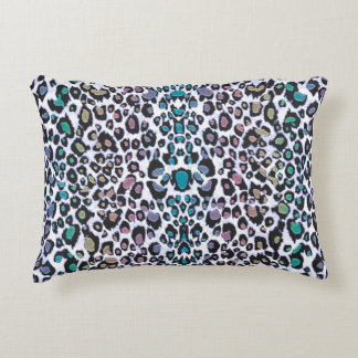 Shimmering Multicolored Leopard Print Decorative Pillow