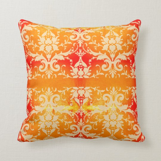 Shimmering Orange Vintage Scroll Throw Pillow