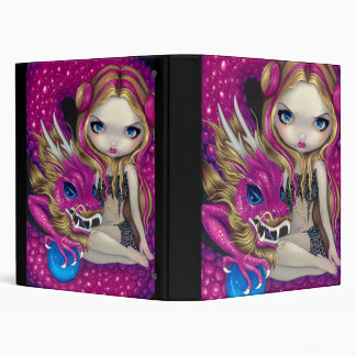 Shimmering Pink Dragon BINDER fairy fantasy