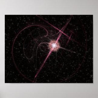 Shimmering Pink Star Burst Paper Matte Poaster Poster