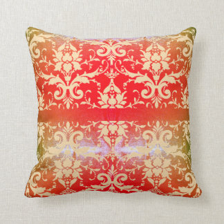 Shimmering Red Vintage Scroll Throw Pillow