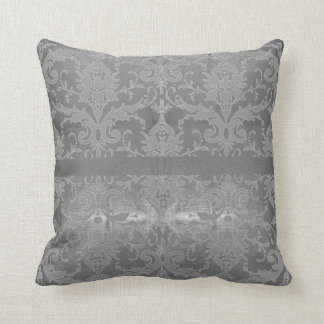 Shimmering Silver Vintage Scroll Throw Pillow