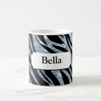 Shimmering Silver Zebra Stripes Coffee Mug