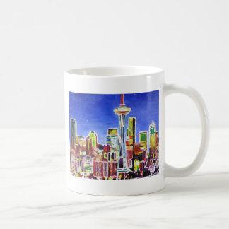 Shimmering Skyline Of Seattle With Space Needle Mug