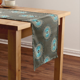 Shimmering turquoise kaleidoscope short table runner