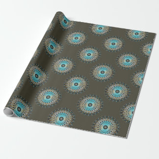 Shimmering turquoise kaleidoscope wrapping paper
