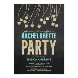 Shimmery Chic Bachelorette Party Invitation (blue)