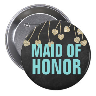 Shimmery Chic Maid of Honor Button Pin (blue)