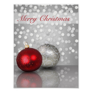 Shimmery Christmas Ornaments - Poster