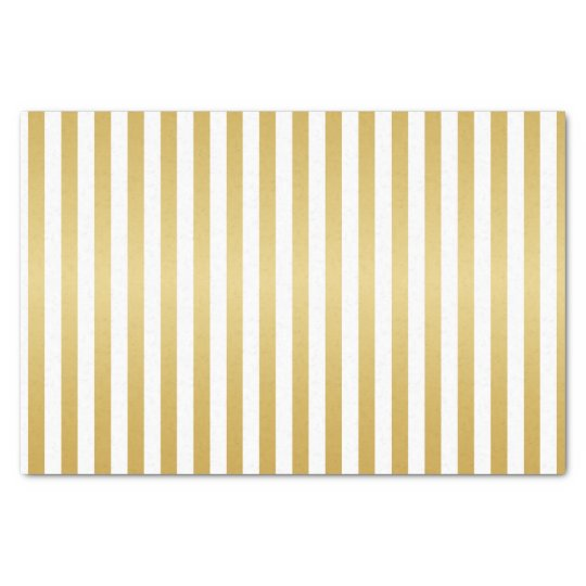 Shimmery Gold and White Stripes Tissue Paper