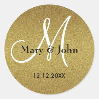 Shimmery Gold Wedding Monogram Seals Round Sticker