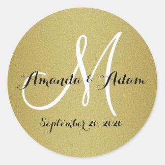 Shimmery Gold Wedding Monogram Seals Sticker