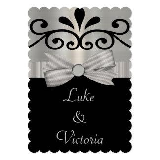 Shimmery Silver & Black Striped Bow Wedding Card