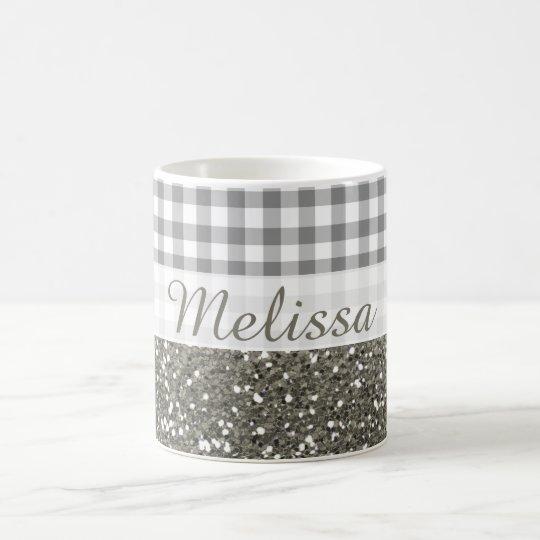 Shimmery Silver Glitter Gingham Pattern  Name Coffee Mug