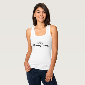 """Shimmy Queen"" white tank top with delicate crown"