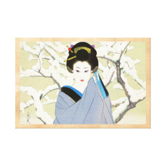Shimura Tatsumi Two Subjects Japanese Women Snow Canvas Print