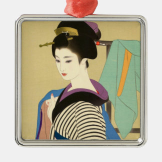 Shimura Tatsumi Two Subjects of Japanese Women Silver-Colored Square Ornament