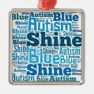 Shine Blue for Autism Products Silver-Colored Square Ornament