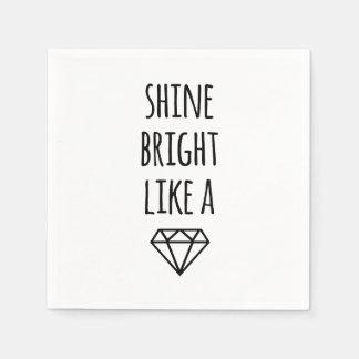 Shine Bright Like a Diamond Cocktail Napkins Disposable Napkins