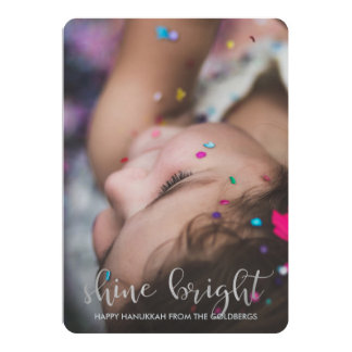 Shine Bright Silver Typography with Hanukkah Photo Card
