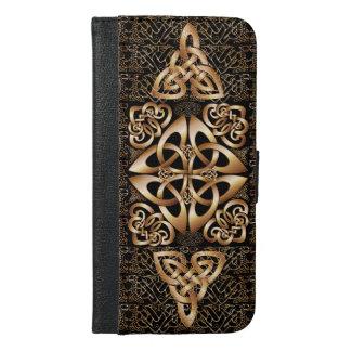 Shine Celtic Knot pattern on Black iPhone 6/6s Plus Wallet Case