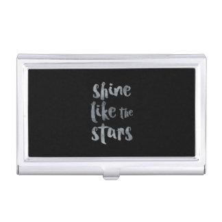 Shine Like the Stars - Silver Metallic Motivationa Business Card Holder