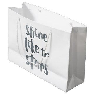 Shine Like the Stars - Silver Metallic Motivationa Large Gift Bag
