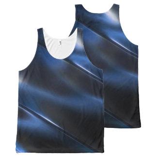 Shine Metallic Blue Abstract All-Over-Print Tank Top