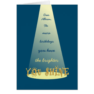 Shine On Happy 30th Birthday Personalized Greeting Card