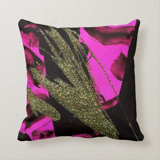 Shine On Pink Black Glitter Girly Throw Pillow