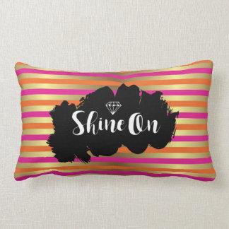 Shine On Pink, Orange & Faux Gold Metallic Stripe Lumbar Pillow
