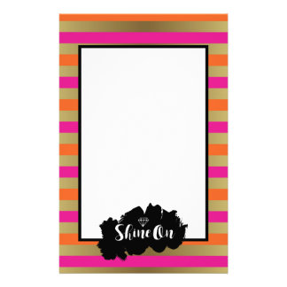 Shine On Pink Orange & Faux Gold Metallic Stripe Stationery Paper