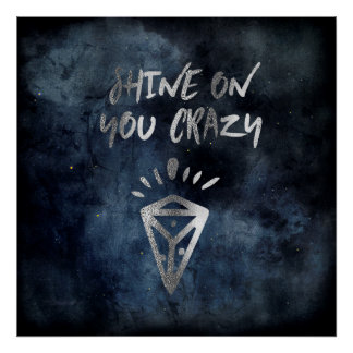 Shine On You Crazy Diamond Quote Silver Typography Poster