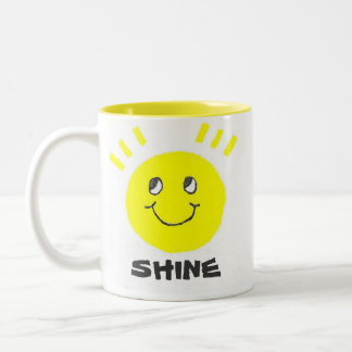 Shine Smiley Face Two-Tone Coffee Mug