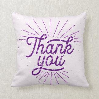 Shine Thank You Typography Purple Throw Pillow