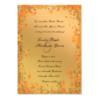 Shining Autumn Gold Tangerine Wedding Invitation
