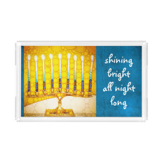 """Shining bright"" quote gold Hanukkah menorah photo Acrylic Tray"