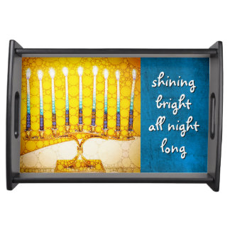 """Shining Bright"" Yellow Hanukkah Menorah Photo Serving Tray"