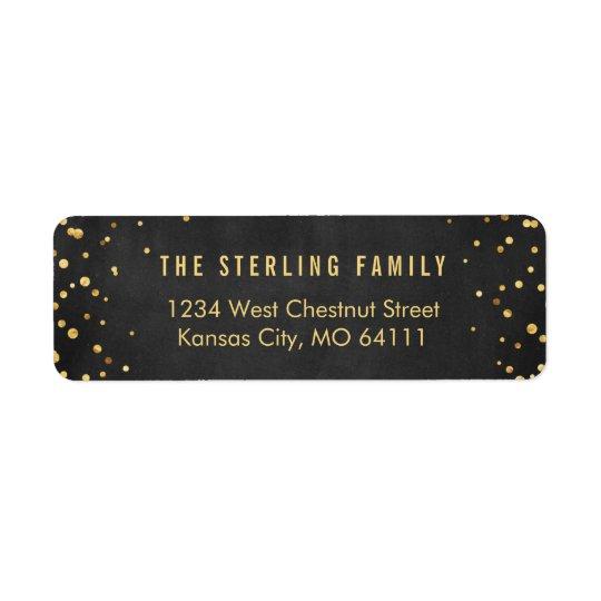 Shining Gold Dots Chic Black Return Address Label